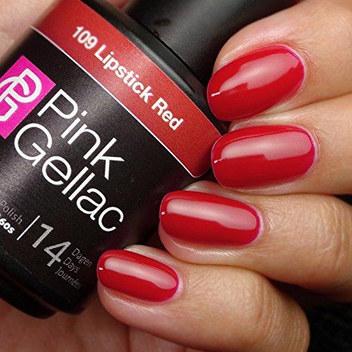 Vernis à ongles Pink Gellac 109 lipstick Red. 15 ml gel Manucure et Nail Art pour UV LED lampe, top coat résistant shellac