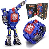 Toy Watch Transformers Toys Kids 2 in 1 Electronic Transformers Toys Watch Deformed Robot Manual Transformation Robot Toys Children's Gift 3-6 Ages(Blue)