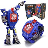 Toy Watch Transformers Toys Kids 2 in 1 Electronic Transformers Toys Watch Deformed Robot Manual Transformation Robot Toys Children\'s Gift 3-6 Ages(Blue)