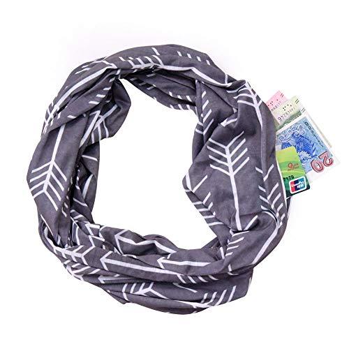 Infinity Schal mit Reißverschluss, versteckte Tasche, weich, dehnbar, modisch, für Damen und Mädchen - Pink - Mittel