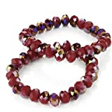 Brand New Ladies 2pc Shimmering Red Faceted Tone Glass Elastic Bracelet