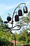 Gartenstecker aus Metall mit 3 Glöckchen und hübscher Ameise für Haus und Garten, Höhe 90 cm
