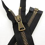 ZIP Italy Reißverschluss 55cm braun Lederjacke teilbar Metall kräftig robust