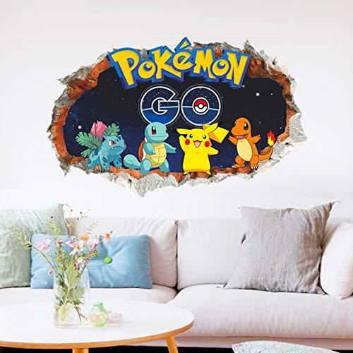 Cartoon Pikachu Pokemon Go Wandtattoos Für Kinderzimmer Wandkunst Dekor Pvc Aufkleber Diy Removable Poster Boy'S Gift
