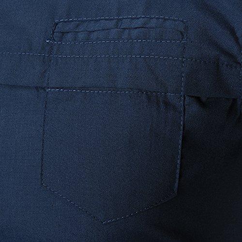 2017 Neu Sunshey Herren Langarmes Hemd C21 mit Knöpfen Slim Fit Einfarbig Einfach Freizeithemd Causal und Modern Schwarzblau