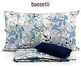 Bassetti Completo Copripiumino Matrimoniale Art. Bright Chic col. Grigio, con sotto angolare Variante Blu