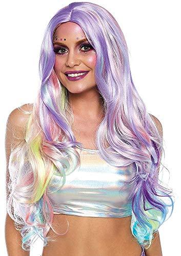 Multicolor Damen Perücke mit Strähnen in Pastellfarben lang mit Wellen von Leg Avenue Einhorn Regenbogen Fee