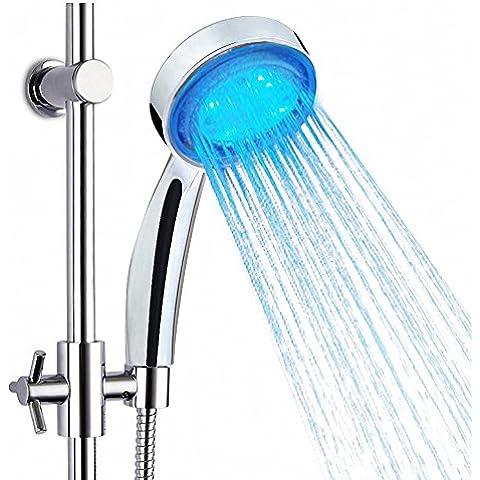 3 CrazyFire luz Led que cambia de color de ducha alcachofa de ducha de baño pulverizador de lluvia Sensor de temperatura para ahorrar agua
