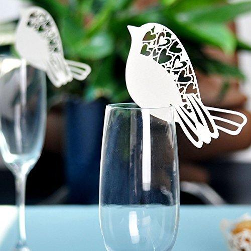 ULTNICE 50 Stück Namenskärtchen Platzkarte Namensschild für Hochzeit Party Weinglas Dekor...