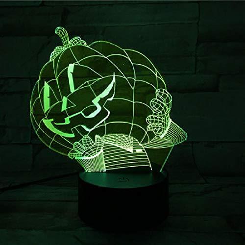 LLXPDZ 3D Nachtlicht Halloween Kürbis Led Lampe Visuelles Licht Touch Schreibtischlampe 7 Farben Ändern Atmosphäre Lampe Acryl (Halloween-kürbisse Zu Ziehen)