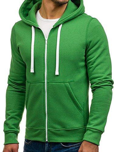 BOLF - Felpa - Pullover - Manica lunga �?Maglione - Zip - Classic - Motivo - 1A1 Verde