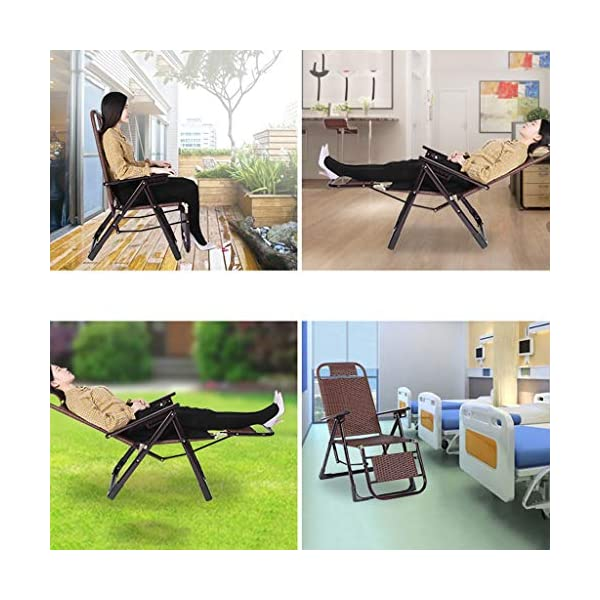 MRZZ Wicker Chair Recliner,folding Lunch Break Lazy Office Nap Bed Outdoor Beach Chair Adult Siesta Backrest Lounge Chair Balcony Garden Office. (Color : Bronze)  No need to install and retract freely, 2 seconds fast folding storage, storage does not occupy land. Bold steel pipe, strong bearing capacity, high pressure resistance, strong toughness, not easy to deform. Artificial double-sided rattan, cool and breathable sunscreen and rainproof. 4