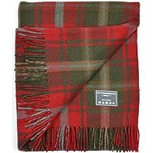 The Tartan Blanket Co. Couverture recyclée en laine – style tartan écossais Dark Maple
