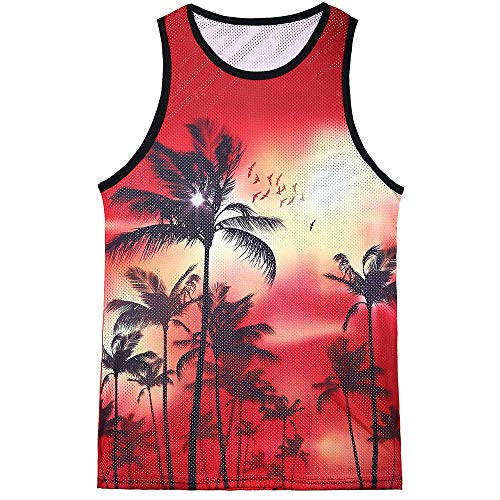 Dragon868 Herren Mode-beiläufige gedruckte hawaiische Landschaftsweste dünne ärmellose Trägershirts
