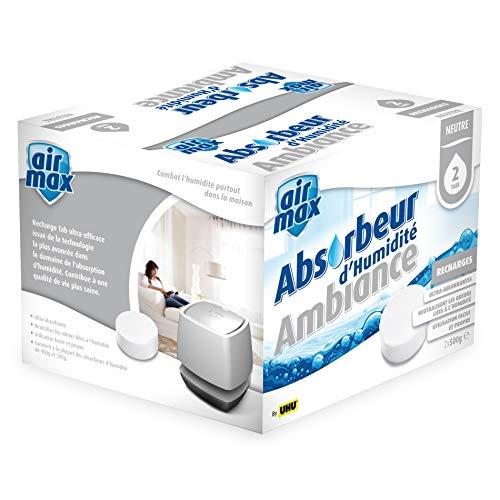 UHU 50530 Air Max Ambiance Recharges sans parfum pour Absorbeur d'humidité, Blanc