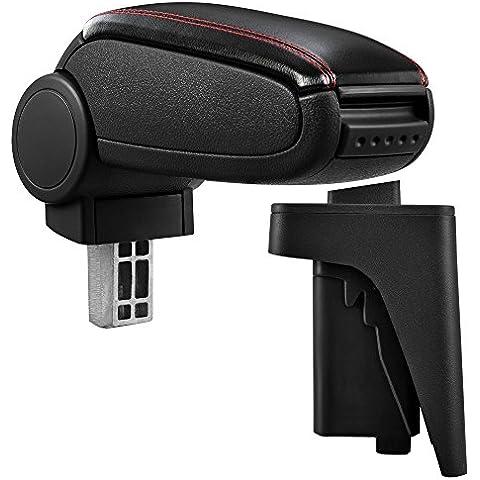 Reposabrazos central negro de piel sintética con costuras rojas con compartimiento de almacenamiento para Audi A3/S38P desde 2004al 2010(3y