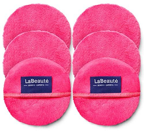 LaBeauté Make-Up Entferner-Pads (6 Stück), Gesichtsreinigung und Abschmink-Pads, waschbar und wiederverwendbar (Pink)