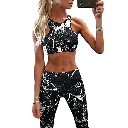 Morbuy Ensemble Sport Yoga, Femmes Vest Top et Leggings Jogging Yoga Gym Fitness Survêtement Haute élasticité Tenue de Sport Causal Sportswear Tenues (M, Noir)