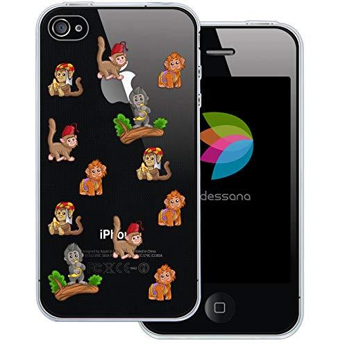 dessana Niedliche Tier Pattern Transparente Schutzhülle Handy Case Cover Tasche für Apple iPhone 4/4S Affen Zirkus (Iphone Affe 4s)