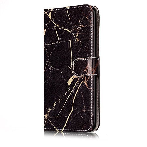 EUWLY Custodia Cover per iPhone 6 Plus/iPhone 6s Plus (5.5), Bello Dipinto Disegno PU Pelle Portafoglio Custodia Creativo Colorato Marmo Pattern Protettiva Cover Case Supporto Stand Slot Holder Prote Modello Marmo,Nero Oro