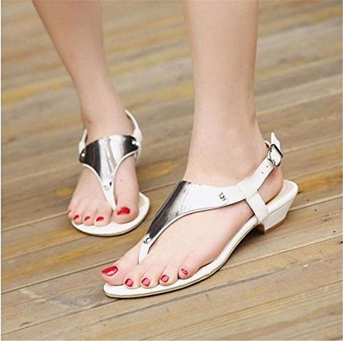 QIYUN.Z Nouvelles Femmes Sexy Boho Talon Plat Doux Tongs Cheville Sangle Sandales De Plage Chaussures Argent