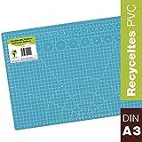 OfficeTree Set de Estera para Corte - 45x30 cm (A3) Azul - Cuadrícula y Marcas en Ambos Lados para un Corte Profesional - PVC reciblable con 5 Capas superpuestas