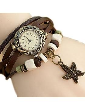Da.Wa Reloj de Pulsera Brazalete Cuero Trenzado Retro para Mujer con Colgante de Estrella de Mar