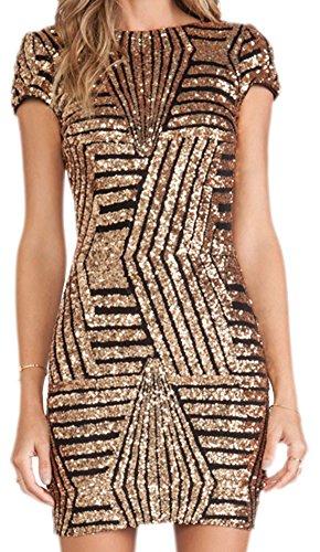 Kleid Disco Gold (erdbeerloft - Damen Abendkleid Cocktailkleid Partykleid, 40 (L),)