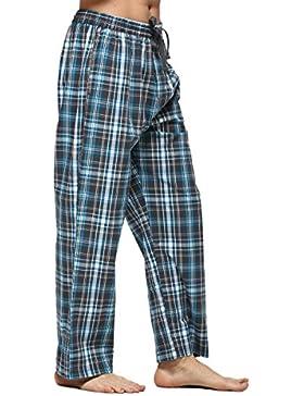 Männer Baumwoll-Pyjama Bottoms Tartan-karierte Hosen Lange Lounge Schlafanzughosen