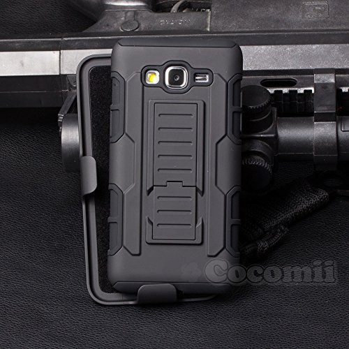 Galaxy Grand Prime Coque, Cocomii Robot Armor NEW [Heavy Duty] Premium Belt Clip Holster Kickstand Shockproof Hard Bumper Shell [Military Defender] Full Body Dual Layer Rugged Cover Case Étui Housse Samsung G530 (Black)