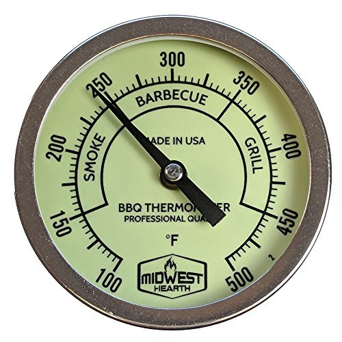 """Midwest Hearth Professional Thermometer for BBQ Offset, Cabinet, Barrel Smokers, Pits, and Cookers 3"""" Dial (2.5"""" Stem Length, Glow Dial)"""