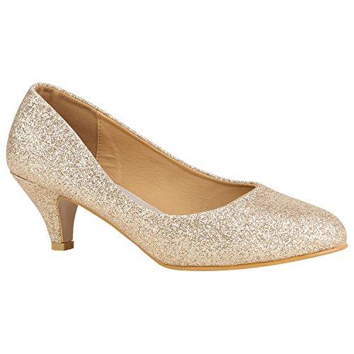 Spitze Damen Übergrößen Schuhe Pumps Lack Kitten Heels Stiletto Schuhe Abendschuhe 157094 Gold Metallic 42 Flandell (Kleid Heel Kitten Schuhe)