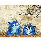 Huangzhang Graisse Bleu Chat Peinture Abstraite Accordéon Bricolage Peinture par Numéros Moderne Enfants Wall Art Photo Peint À La Main Enfants Cadeau 40 x 50 cm sans Cadre