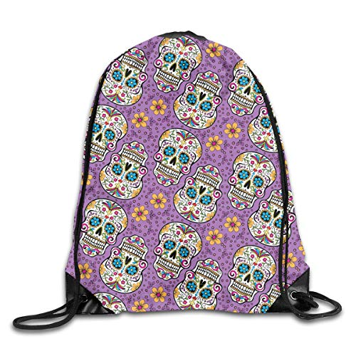 Etryrt Prämie Turnbeutel/Sportbeutel, Flower Skull of Purple Wallpaper Drawstring Backpack Bag Shoulder Bags Gym Bag for Adult - Weg Wallpaper