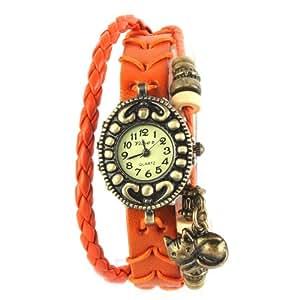 Yesurprise Montre quartz Vintage Avec pendentif Chat Knitted Bracelet en cuir Classique Bronze cadran 5 couleurs -5