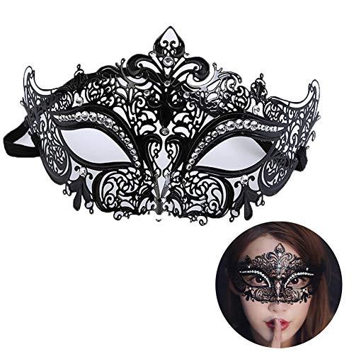 (RISILAYS Halloween Halbe Gesichtsmaske, Metall Diamant Maske, Venedig, Festival Make-Up Tanz Erwachsene Prinzessin Männer Frauen Eisen Maske,Black)