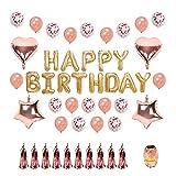 EisEyen Fransen Rosegold Deko Happy Birthday Girlande Buchstaben Folienballon Love Rose Gold Herz Sterne Folie Latex Ballons für Valentinstag, Hochzeit, Geburtstag, Bridal Shower