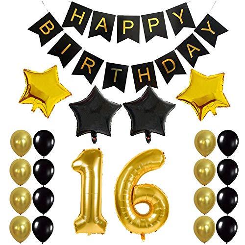 Stern 16 (Crazy-M 16th Geburtstag Deko Set Nummer 16 Luftballon Geburtstag Party Deko für Mädchen Junge-2 STK Zahl 16 Aufblasbar Helium Folienballon+1 Happy Birthday Banner + 16 Latexballon + 4 Stern Ballon)