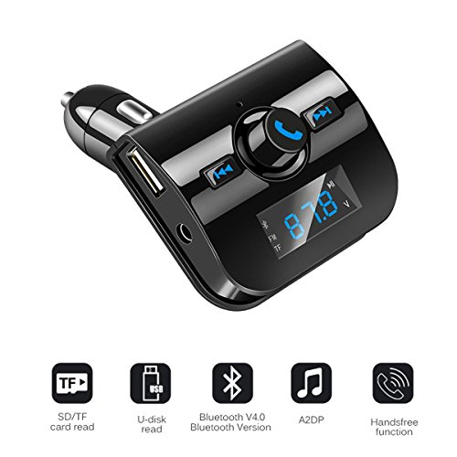 Ocamo Kit Manos Libres para automóvil Cargador inalámbrico Bluetooth FM Transmisor LCD...