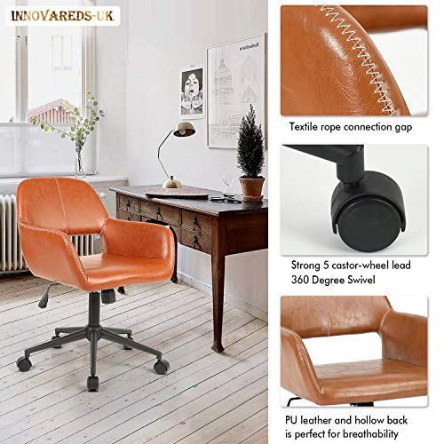 innovareds PU Leder verstellbar Office Computer Stuhl 360Grad Drehgelenk Schreibtisch-Sessel braun -