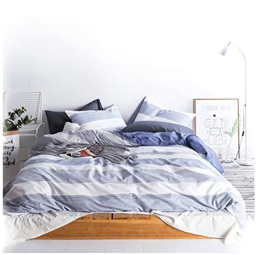 Cabana Streifen Modern Bettbezug 100-cotton Twill Bettwäsche Set Geometrische weiß und marineblau Distressed Rugby Streifen Print in Dusty Blau wendbar, baumwolle, navy, King Size -