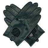 Harssidanzar Damen Autohandschuhe Lederhandschuhe Unliniert, Waldgrün, XL