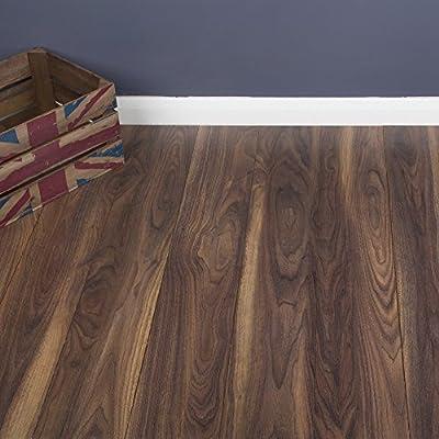 8mm - V-Groove - Laminate Flooring - Dark Walnut - 9 Pieces - 2.22sqm - cheap UK light store.