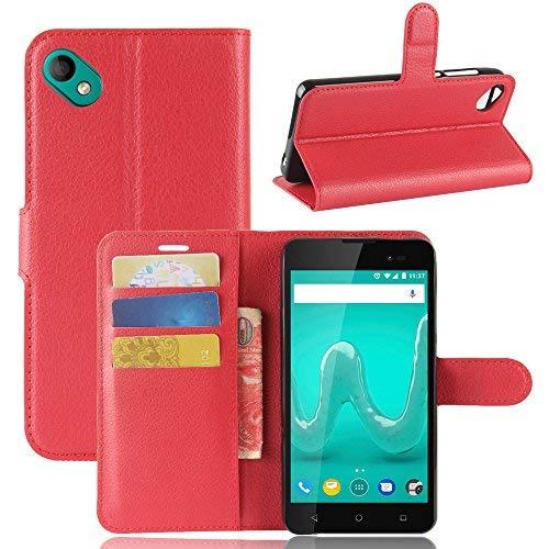 Handyhülle für Wiko Sunny 2 Plus 95street Schutzhülle Book Case für Wiko Sunny 2 Plus, Hülle Klapphülle Tasche im Retro Wallet Design mit Praktischer Aufstellfunktion - Etui Rot