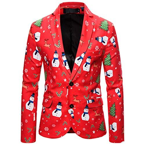 Herren Weihnachten Blazer Festliches Anzugjacke Sakko Jackett Anzug Jacke Elegant Slim Fit 3D Drucken Christmas Langarm Mantel Lustig Business Party Club Jacke Top Karneval Kostüm für Rot - Kostüm Party Instrumental