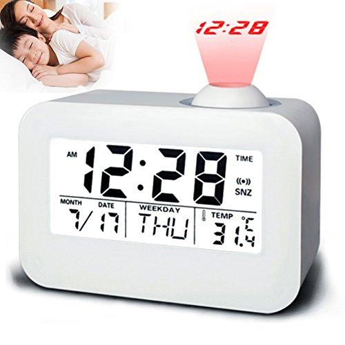 ZREAL Elektronische LCD Projektor Wecker Zeit Temperatur Digitalanzeige Schreibtisch Tisch Nachttischuhren Stimme Reden Kalender