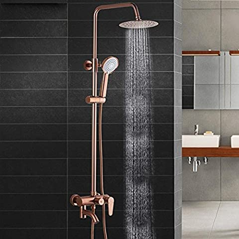 NHD-Aluminum shower space suit, copper and antiqued golden Shower set, tap, lift the rainforest shower, thin round rose gold flower