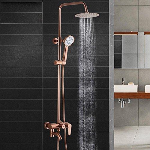 SDKKY-Juego del espacio de la ducha de aluminio, cobre y latòn lluvia dorada set, grifo, levante la ducha de efecto lluvia, fina redonda rociada flor oro color de rosa