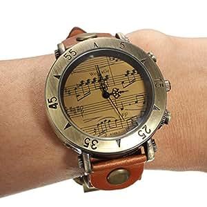 Montre Bracelet Quartz Grand Chiffre Cadran Rond Rétro PU Cuir Femme Wrist Watch