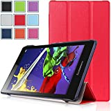 Bestdeal® High Quality Ultra Slim Lightweight SmartCover Stand Case for Lenovo TAB2 A8-50 8.0 inch Tablet PC + Stylus Pen (Red)